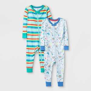 Toddler Girls' 2pk Unicorn 100% Cotton Snug Fit Pajama Jumpsuit - Cat & Jack Blue