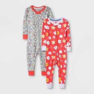 Toddler Girls' 2pk Rise and Shine 100% Cotton Snug Fit Pajama Jumpsuit - Cat & Jack Purple