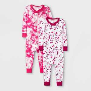Toddler Girls' 2pk Birds 100% Cotton Snug Fit Pajama Jumpsuit - Cat & Jack Pink