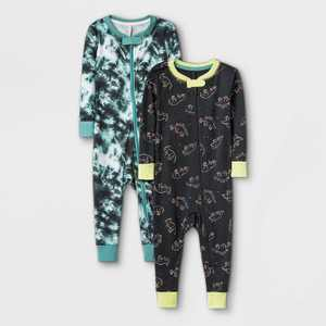 Toddler Boys' 2pk Dino 100% Cotton Snug Fit Pajama Jumpsuit - Cat & Jack White