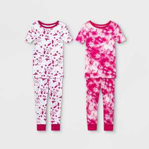 Toddler Girls' 4pc Birds Snug Fit Pajama Set - Cat & Jack Pink