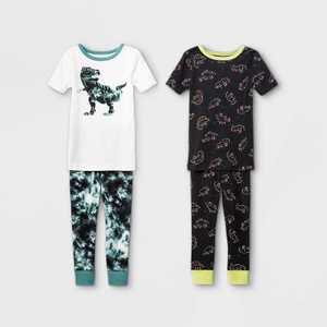 Toddler Boys' 4pc Dino Snug Fit Pajama Set - Cat & Jack White