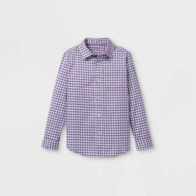 Boys' Woven Long Sleeve Button-Down Shirt - Cat & Jack Purple