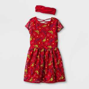 Girls' Wonder Woman A-Line Dress with Headwrap - Red
