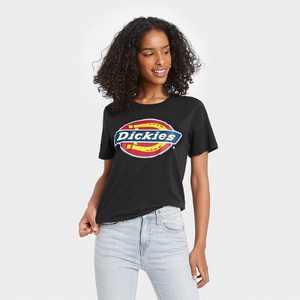 Women's Dickies Logo Cropped Short Sleeve Graphic T-Shirt - Black