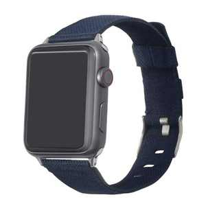 Insten Canvas Woven Fabric Band for Apple Watch 38mm 40mm All Series SE 6 5 4 3 2 1, For Women Girls Men Replacement Strap, Navy Blue