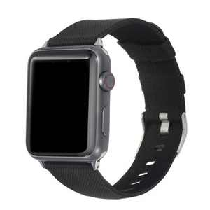 Insten Canvas Woven Fabric Band for Apple Watch 42mm 44mm All Series SE 6 5 4 3 2 1, For Women Girls Men Replacement Strap, Black