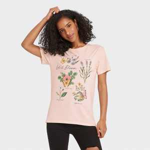 Women's Floral Print Let It Bloom Short Sleeve Graphic T-Shirt - Pink