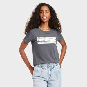 Women's We Rise by Lifting Others Up Short Sleeve Graphic T-Shirt - Charcoal Gray