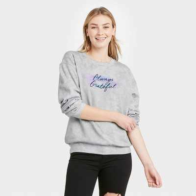 Women's Always Grateful Graphic Sweatshirt - Gray