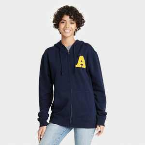 Women's To All The Boys 3 Varsity Letter Zip-Up Hooded Graphic Sweatshirt - Navy
