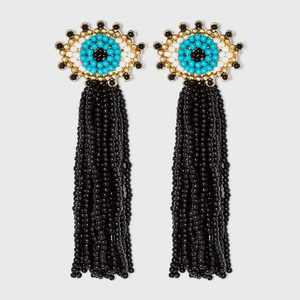 SUGARFIX by BaubleBar Beaded Evil Eye Tassel Drop Earrings
