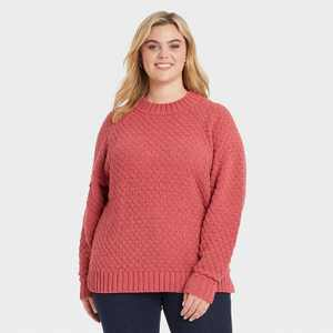 Women's Plus Size Textured Crewneck Pullover Sweater - Ava & Viv