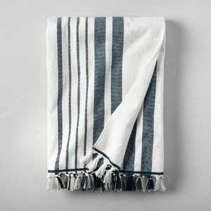 Casual Stripes Cotton Beach Towel Navy/Sour Cream - Hearth & Hand™ with Magnolia