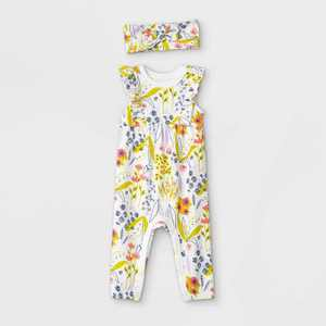 Baby Girls' Floral Romper with Headband - Cat & Jack Light Cream