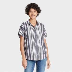 Women's Dolman Short Sleeve Button-Down Shirt - Universal Thread