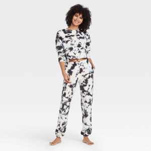 Women's Tie-Dye Fleece Lounge Jogger Pants - Colsie Black