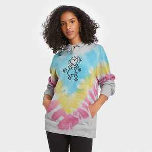 Women's Keith Harring Tie-Dye Hooded Graphic Sweatshirt - Gray