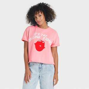 Women's The Rolling Stones Lips Short Sleeve Graphic T-Shirt - Pink
