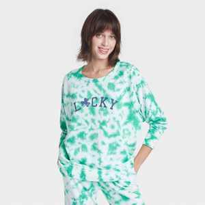 Women's Lucky Tie-Dye Wash Graphic Sweatshirt - Green