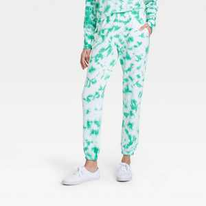 Women's Lucky Tie-Dye Wash Graphic Jogger Pants - Green
