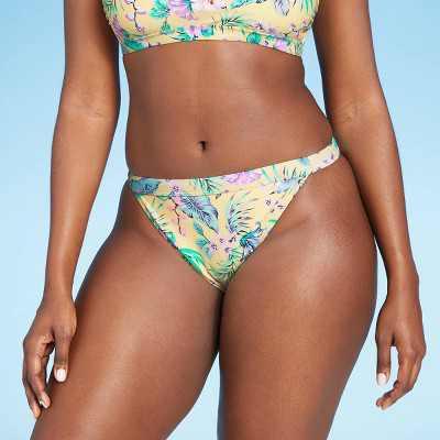 Juniors' Cheeky Mid Waist Bikini Bottom - Xhilaration Yellow Tropical Print