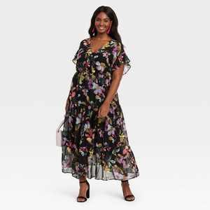 Women's Plus Size Flutter Short Sleeve Chiffon Dress - Ava & Viv