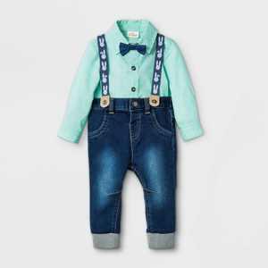 Baby Boys' Bunny Chambray Suspender Top & Bottom Set - Cat & Jack Green