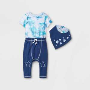 Baby Star 3pc Tie-Dye Top & Bottom Set with Bib - Cat & Jack Blue