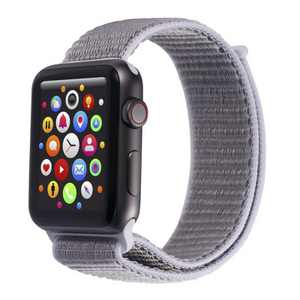 Insten Soft Woven Nylon Band for Apple Watch 42mm 44mm All Series SE 6 5 4 3 2 1, For Women Men Girls Boys Replacement Strap, Light Gray