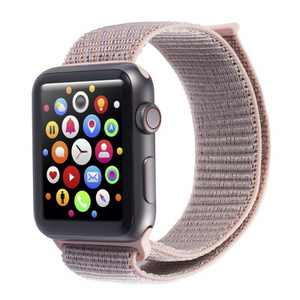 Insten Soft Woven Nylon Band for Apple Watch 38mm 40mm All Series SE 6 5 4 3 2 1, For Women Men Girls Boys Replacement Strap, Pink Sand