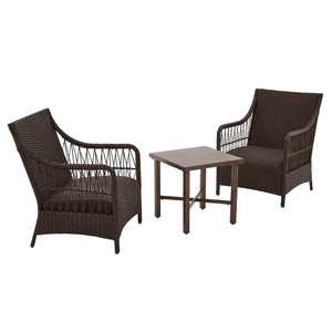 Better Homes and Gardens Hartwell Bay Outdoor 3 Piece Chat Set, Dark Brown Wicker