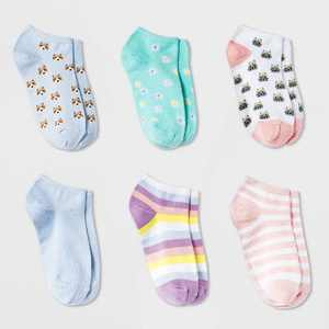 Girls' 6pk Corgi and Cat Super Soft No Show Socks - Cat & Jack