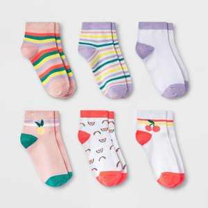 Girls' 6pk Fruit Super Soft Ankle Socks - Cat & Jack