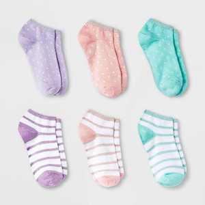 Girls' 6pk Stripes and Dots Super Soft No Show Socks - Cat & Jack