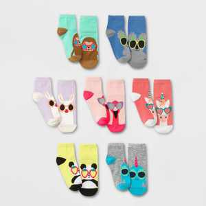 Girls' 7pk Ankle Critter Shades Socks - Cat & Jack Colors May Vary