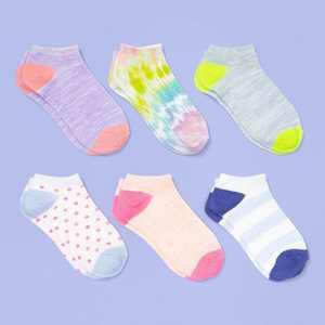 Girls' 6pk Tie-Dye No Show Socks - More Than Magic