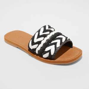 Women's Eve Square Toe Raffia Slide Sandals - Universal Thread