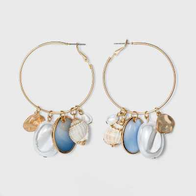 Pearl and Shell Charms Hoop Earrings - A New Day