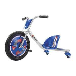 Razor Rip Rider 360 Drifting Ride On Toddler Big Wheel Tricycle with MX Style Handlebar for Kids Ages 5 & Up, Blue