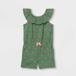 Toddler Girls' Ruffle Tank Romper - Just One You made by carter's Olive Green/Pink