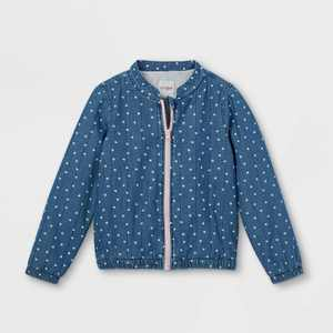 Girls' Chambray Quilted Long Sleeve Jacket - Cat & Jack Blue