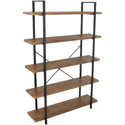 5-Tier Industrial Style Freestanding Open Shelf - Teak Veneer - Sunnydaze Decor