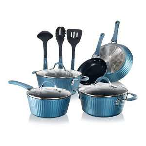 NutriChef 11 Piece Nonstick Ceramic Elegant Lines Stripe Pattern Cooking Kitchen Cookware Pots and Pan Set with Lids and Utensils, Royal Blue