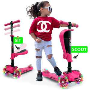 Hurtle ScootKid 3 Wheel Toddler Child Mini Ride On Toy Tricycle Scooter with Adjustable Handlebar, Foldable Seat, and LED Light Up Wheels, Pink