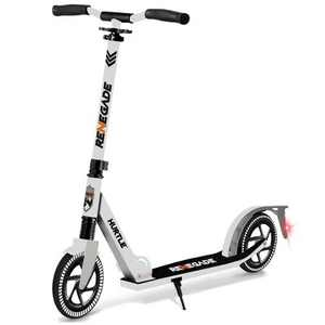 Hurtle Renegade Lightweight Foldable Teen and Adult Ride On 2 Wheel Transportation Commuter Kick Scooter with Adjustable Handlebar , White