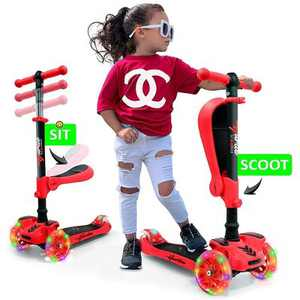 Hurtle ScootKid 3 Wheel Toddler Child Mini Ride On Toy Tricycle Scooter with Adjustable Handlebar, Foldable Seat, and LED Light Up Wheels, Red