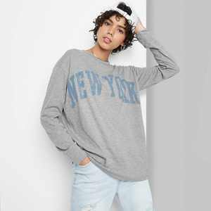 Women's Long Sleeve Oversized T-Shirt - Wild Fable