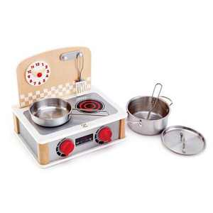 Hape 2-in-1 Pretend Play Wooden Tabletop Kitchen & Grill Set with Accessories
