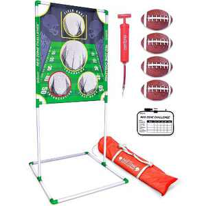 GoSports Red Zone Challenge 5 X 7 Foot Portable Football Toss Outdoor Backyard Lawn Game with 4 Footballs, Ball Pump, and Dry Erase Scoreboard